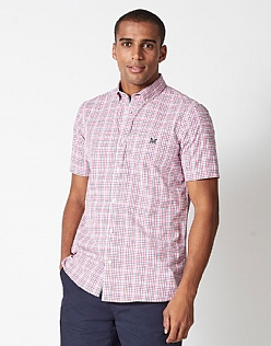 Multi Check Classic Fit Short Sleeve Shirt in Pink
