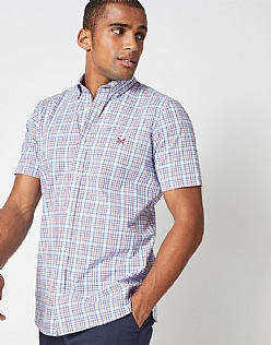 Multi Check Classic Fit Short Sleeve Shirt in Sky