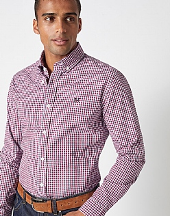 Sandbanks Gingham Slim Fit Shirt in Henley Red