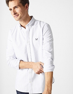 Crew Slim Fit Stripe Oxford Shirt in Amparo Blue