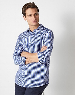 Crew Slim Fit Gingham Shirt in Ultramarine