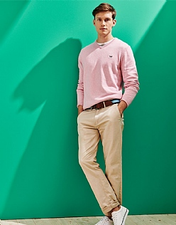 Foxley V Neck Jumper in Pink Marl