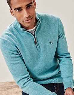 Classic Half Zip Knit in Cloudy Jade Marl