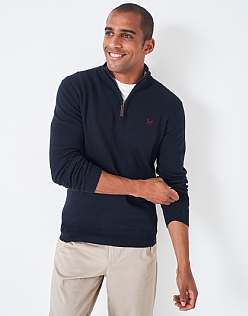 Classic Half Zip Knit in Navy