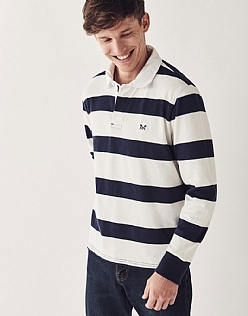 Crew Long Sleeve Rugby Shirt in Navy White Stripe