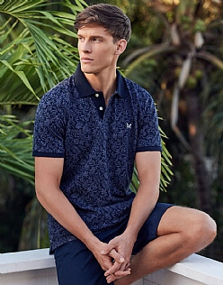 Palm Print Pique Polo Shirt