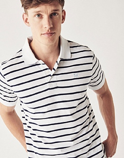 Narrow Stripe Jersey Polo Shirt