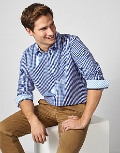 Crew Classic Fit Gingham Shirt In Ultramarine Blue