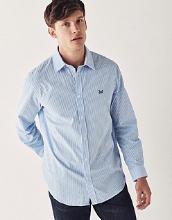 Crew Classic Fit Stripe Shirt In Sky Blue