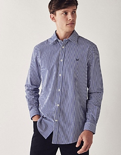 Crew Classic Fit Stripe Shirt In Ultramarine Blue