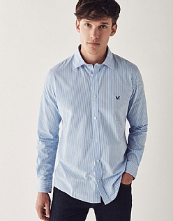 Crew Slim Fit Stripe Shirt In Sky Blue