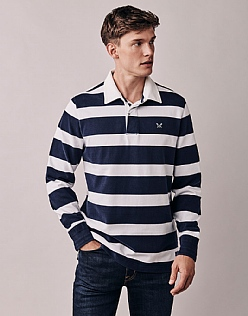 Crew Long Sleeve Rugby Shirt In Navy