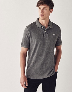 Classic Pique Polo Shirt In Grey Marl