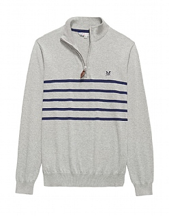 Cotton Stripe Zip Neck Jumper