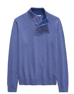 Button Neck Jumper in Blue