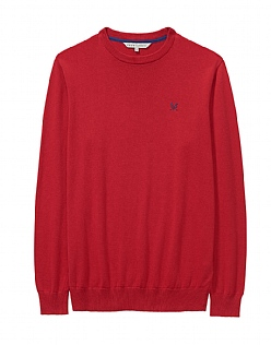 Crew Neck Cotton Jumper in Red