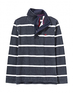 Stripe Pique Sweatshirt in Charcoal