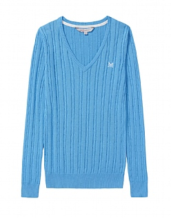Cotton Cable V Neck Jumper