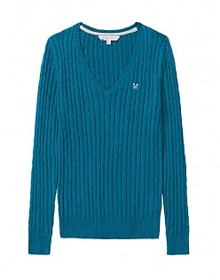 Cable Wool Mix V Neck Jumper