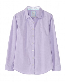 MINI GRID CLASSIC FIT CHECK SHIRT IN LILAC