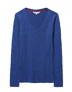 Lurex Cable V Neck Jumper