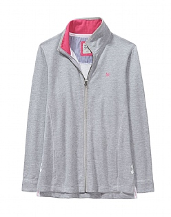 ZIP THROUGH SWEATSHIRT IN GREY MARL