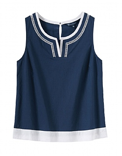 Sleeveless Notch Neck Top