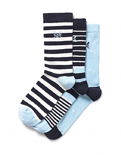 3 Pack Stripe Spot Socks