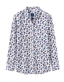 Agnes Print Linen Mix Shirt In White