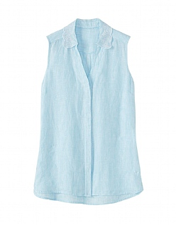 Malbay Sleeveless Linen Broderie Shirt In Aqua Blue