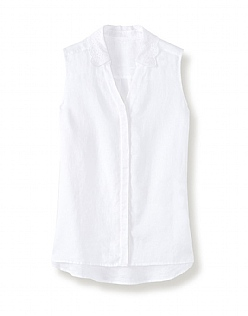 Malbay Sleeveless Linen Broderie Shirt In Optic White