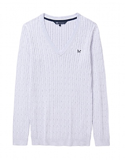Heritage Cable V Neck Jumper In Clean Air White