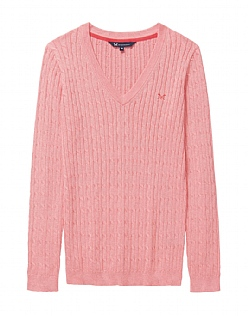 Heritage Cable V Neck Jumper In Dawn Pink