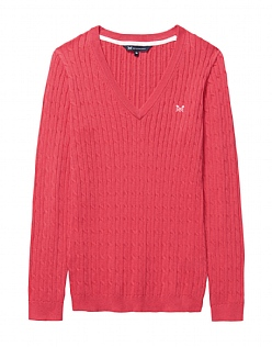 Heritage Cable V Neck Jumper In Sunset Pink