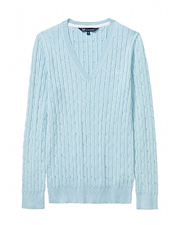 Cotton Summer Cable Jumper In Aquamarine Blue