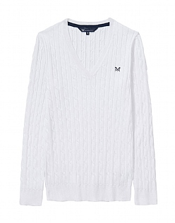 Cotton Summer Cable Jumper In Optic White