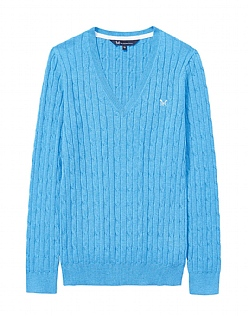 Cotton Summer Cable Jumper In Salcombe Blue