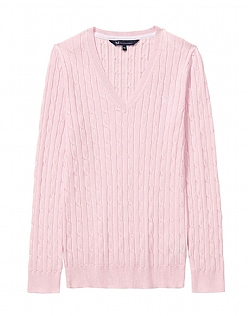 Cotton Summer Cable Jumper In Classic Pink