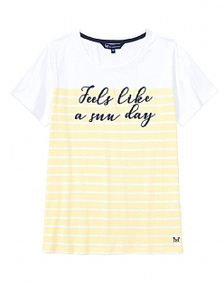 Embroidered Breton T-Shirt In Lemon