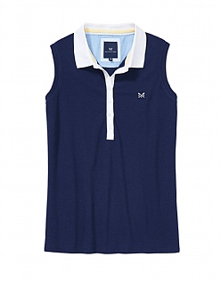 Sleeveless Polo Shirt In Navy