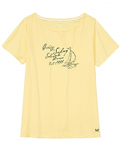 Script Boatneck T-Shirt In Pale Lemon