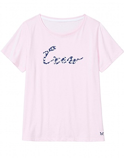 Floral Crew Neck T-Shirt In Classic Pink