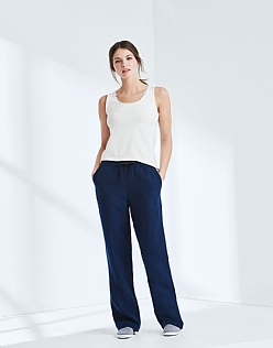Drawstring Linen Trouser In Navy