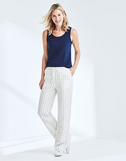 Drawstring Linen Trouser In White