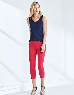 Cropped Skinny Jean In Bright Rose