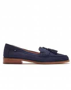 Suede Tassel Loafers in Navy Blue