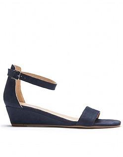 Suede Wedge Sandals in Navy Blue