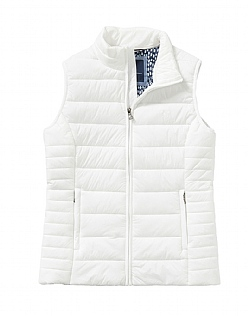 Lightweight Padded Gilet in White Linen