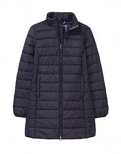 Lightweight Long Padded Jacket in Dark Navy