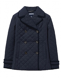 Quilted Reefer Jacket in Dark Navy